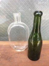 ガラスボトル 2本セット クリアボトル グリーン 一輪挿し アンティーク ビンテージ