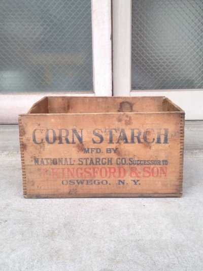 画像2: ウッドボックス KINGS FORD'S CORN STARCH 木箱 ストレージボックス アンティーク ビンテージ