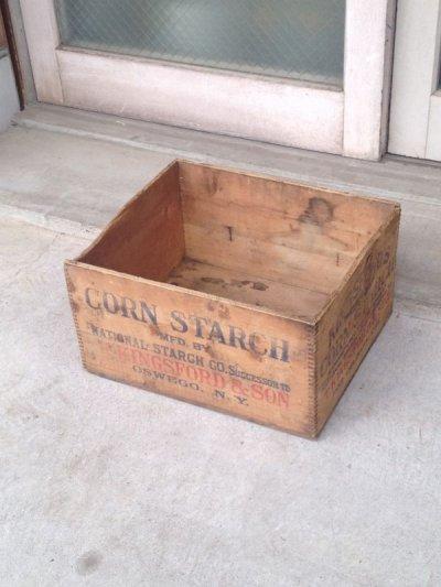 画像1: ウッドボックス KINGS FORD'S CORN STARCH 木箱 ストレージボックス アンティーク ビンテージ