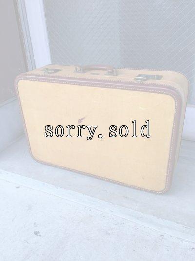 画像1: 1940'S 50'S レザートリム トランク 小型 スーツケース アイボリー 店舗什器に アンティーク ビンテージ