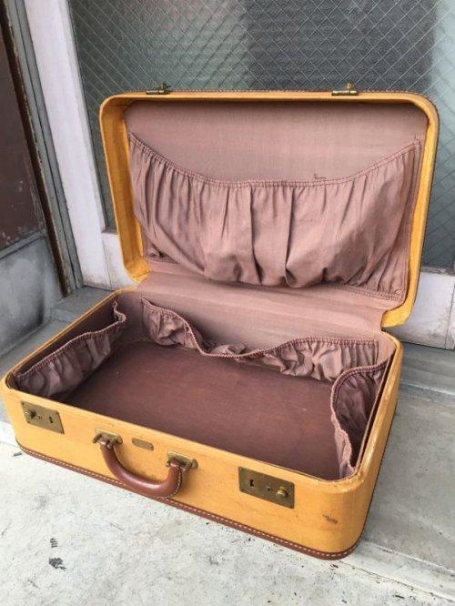 other photographs.1: 1940'S 50'S レザートリム トランク 小型 スーツケース アイボリー 店舗什器に アンティーク ビンテージ