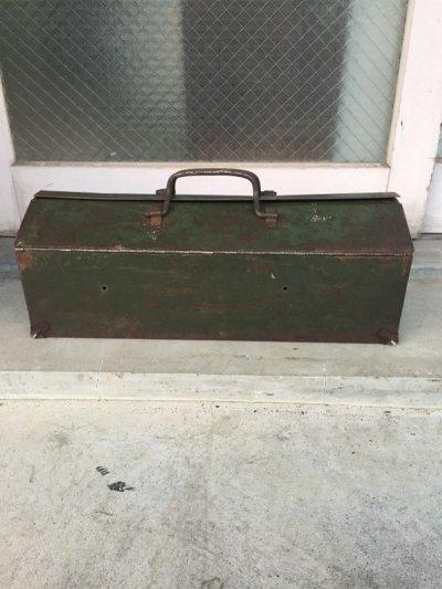 画像2: 1940'S ツールボックス シャビーシック メタルボックス 工具箱 インダストリアル インナートレイ付 アンティーク ビンテージ