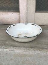 19世紀 ホーロー WASHBOWL 洗面器 トレイ 琺瑯 ホワイト カントリー アンティーク ビンテージ