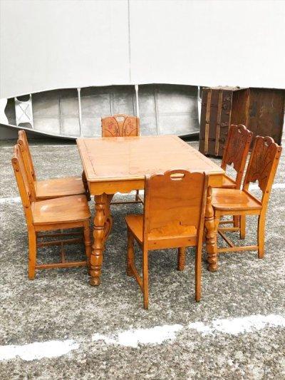 画像1: 1930'S 40'S ダイニングテーブル フルセット キッチンテーブル ウエスタン カントリー go west サンタフェ チェア 椅子 6脚セット カーリー ピンストライプ 花柄 ウッド アンティーク ビンテージ