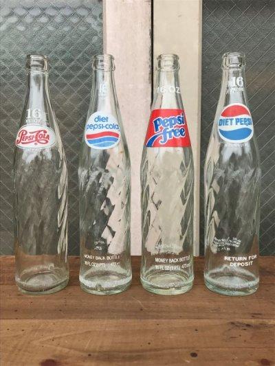 画像1: SODA BOTTLE ソーダボトル ポップボトル ガラス瓶 PEPSI COLA ペプシ クリアガラス アンティーク ビンテージ