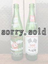 SODA BOTTLE セブンアップ ソーダボトル ポップボトル ガラス瓶 7UP 50周年 インディ500 indy500 INDIANAPOLIS 500 色つきガラス アンティーク ビンテージ