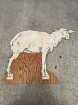 1950'S デコレーションパネル 羊 シープ 移動遊園地 プライウッド 紙 アンティーク ビンテージ
