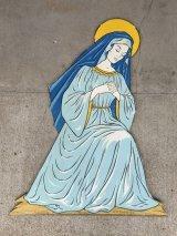 1950'S デコレーションパネル 聖母マリア ヴァージンマリー Virgin Mary Holy Mother 移動遊園地 プライウッド 紙 アンティーク ビンテージ