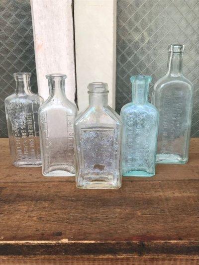 画像1: 19世紀 1860'S 70'S 80'S メディスンボトル 瓶 クリアガラス 色付きガラス アンティーク ビンテージ