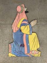 1950'S デコレーションパネル pray 祈り 男性 移動遊園地 プライウッド 紙 アンティーク ビンテージ