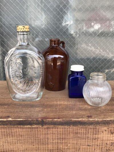 画像1: ガラスボトル バラエティー 4本セット 瓶 フラワーベース 陶器 クリアガラス 色付きガラス アンティーク ビンテージ