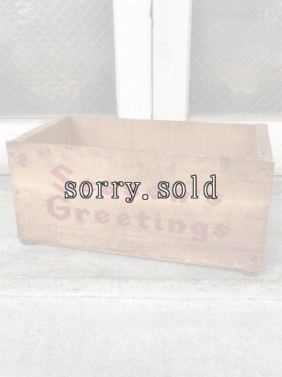 画像1: ウッドボックス Season's Greetings 木箱 ストレージボックス アンティーク ビンテージ
