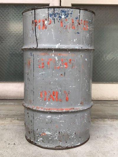画像1: オイル缶 ステンシル 中型 ドラム缶 トラッシュカン ダストボックス シャビーシック アンティーク ビンテージ