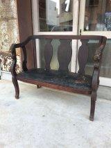 19世紀 1850'S 1860'S 1870'S LOVE SEAT 2シーター 木製ベンチ LION HEAD 装飾 ライオンヘッド レザー シャビーシック 店舗什器 アンティーク ビンテージ
