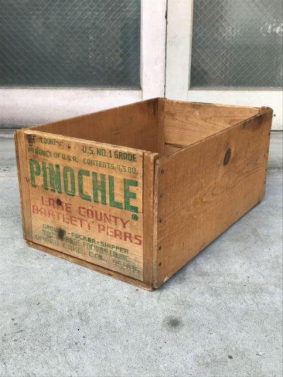 画像1: ウッドボックス 木箱 PINOCHLE ストレージボックス アンティーク ビンテージ
