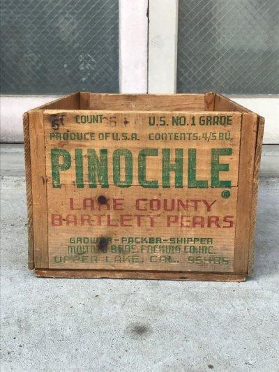 画像2: ウッドボックス 木箱 PINOCHLE ストレージボックス アンティーク ビンテージ