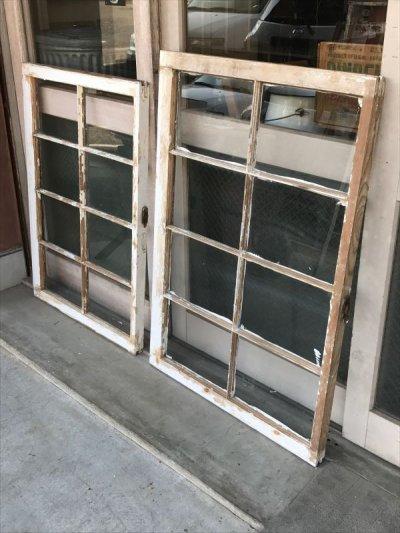 画像1: shabby chic シャビーシック 木枠ガラス 窓  8分割 木製 ホワイト アンティーク ビンテージ