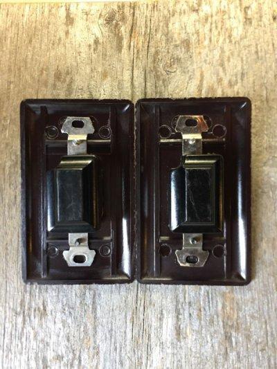 画像3: アメリカ製 トグルスイッチ レバースイッチ プレート付き 壁スイッチ ブラウン ベークライト アンティーク ビンテージ