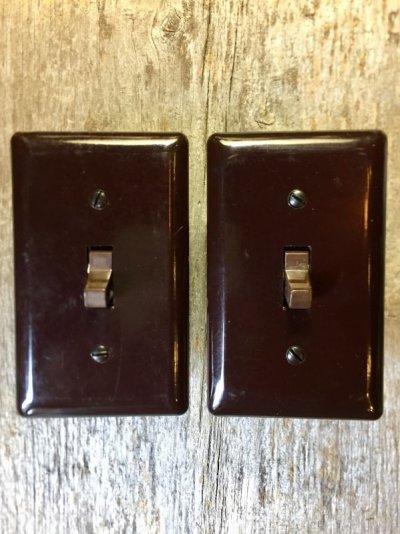 画像1: アメリカ製 トグルスイッチ レバースイッチ プレート付き 壁スイッチ ブラウン ベークライト アンティーク ビンテージ