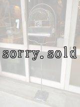 1930'S 40'S バードケージ CROWN GLASS FEEDER スタンド付き鳥かご bird cage アイアン ガラス アンティーク ビンテージ