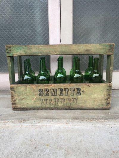 画像2: 1930'S 40'S ワインボトル ワインボトルクレート 10本セット 80's SEMETTE WATTEN ボトルケース ウッドボックス 木箱 アドバタイジング アンティーク ビンテージ