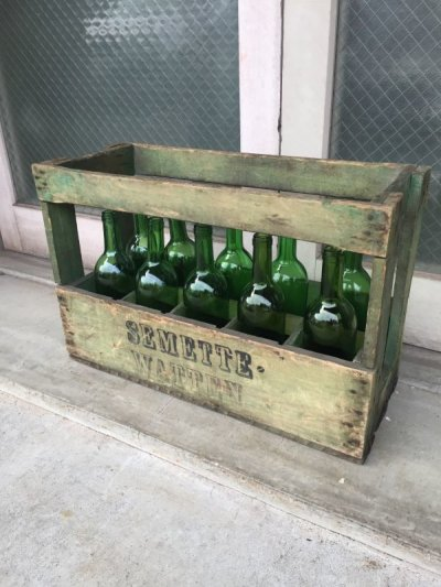 画像1: 1930'S 40'S ワインボトル ワインボトルクレート 10本セット 80's SEMETTE WATTEN ボトルケース ウッドボックス 木箱 アドバタイジング アンティーク ビンテージ