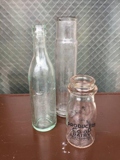 画像1: 1890'S~1940'S ガラスボトル バラエティ3本セット 瓶 一輪挿し フラワーベース クリアガラス ミルクボトル ソーダボトル ビーカー アンティーク ビンテージ