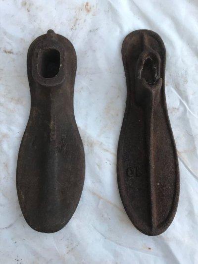 画像1: 1920'S 30'S シャビーシック 靴型 シューラスト 2個セット アイアン 店舗装飾小物 アンティーク ビンテージ