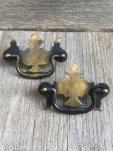 取手 2個セット 引き手 ドロワー 真鍮  メタル キャビネットに アンティーク ビンテージ