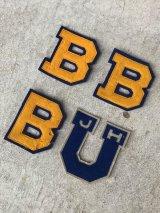 1930'S デッドストック NOS ワッペン レタード カレッジ ブルー イエロー B U LOWE&CAMPBELL アンティーク ビンテージ