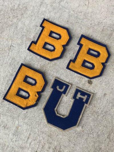 画像1: 1930'S デッドストック NOS ワッペン レタード カレッジ ブルー イエロー B U LOWE&CAMPBELL アンティーク ビンテージ