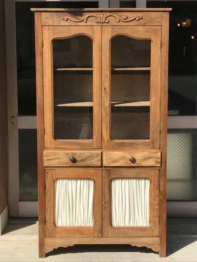 画像2: 1910'S 20'S プリミティヴ primitive カップボード ウッド キャビネット ガラス ショーケース ディスプレイケース 装飾 水屋 食器棚 アンティーク ビンテージ