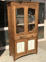 1910'S 20'S プリミティヴ primitive カップボード ウッド キャビネット ガラス ショーケース ディスプレイケース 装飾 水屋 食器棚 アンティーク ビンテージ