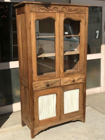 画像1: 1910'S 20'S プリミティヴ primitive カップボード ウッド キャビネット ガラス ショーケース ディスプレイケース 装飾 水屋 食器棚 アンティーク ビンテージ