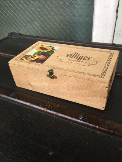 画像1: シガー木箱 villiger 葉巻 タバコ シガーボックス ギター アクセサリーケース アドバタイジング ビンテージ アンティーク