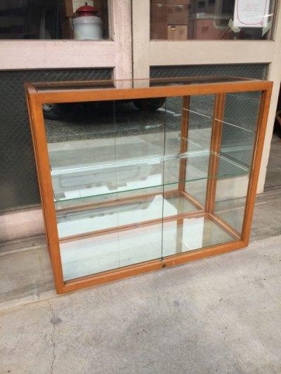 画像1: 1940'S 50'S WADDELL 木製枠 ガラス ショーケース 展示ケース DISPLAY CASE SHOWCASE ディスプレー ケース ミラー シャドーBOX 鏡 ウッド 鍵付 店舗什器 アンティーク ビンテージ