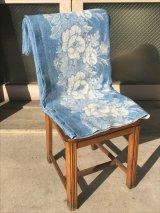 1950'S 60'S ブランケット ラグ ブルー 花柄 アンティーク ビンテージ