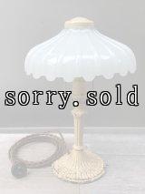 ビクトリアン 1920'S 30'S テーブルランプ ヘヴィーミルクガラスシェード 1灯 装飾 アイアン アンティーク ビンテージ