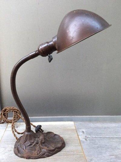 画像2: インダストリアル デスクランプ タスクランプ 1灯 真鍮シェード アイアン アンティーク ビンテージ