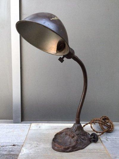 画像1: インダストリアル デスクランプ タスクランプ 1灯 真鍮シェード アイアン アンティーク ビンテージ