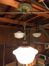 1920'S 30'S スクールハウスシーリング 装飾 中型 ペンダントランプ ミルクガラスシェード 1灯 アンティーク ビンテージ