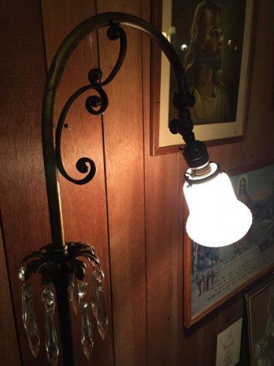 画像1: 1910'S 20'S フロアランプ シャンデリア グラスクリスタル ビクトリアン アーリーセンチュリー ハンドペイント フロストガラスシェード アイアン 装飾 アンティーク ビンテージ
