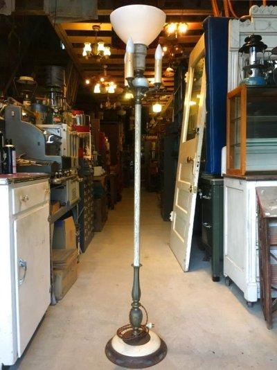 画像1: 30'S 40'S ビクトリアン フロアランプ 1+1+3灯 ミルクガラスシェード ボタニカル 装飾 アンティーク ビンテージ