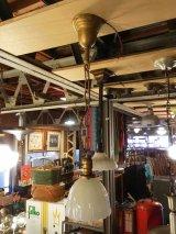 1920'S 30'S ヘヴィーミルクガラスシェード スキャロップ柄 シーリングライト ペンダントライト 1灯 真鍮 アンティーク ビンテージ