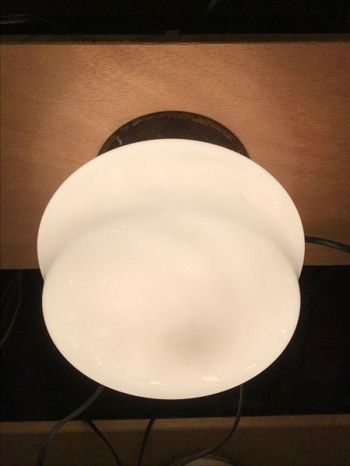 other photographs.1: 1930'S 40'S ミルクガラスシェード シーリングライト フラッシュマウント 1灯 スクールハウスシーリング スチール アンティーク ビンテージ