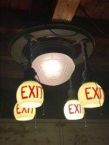 1890'S 1900'S 1910'S アーリーセンチュリー EXITランプ ライトサイン 誘導灯 イクジットライト シーリングライト フラッシュマウント 5灯 フロストガラス ミルクガラス シェード 真鍮 銅メッキ アンティーク ビンテージ