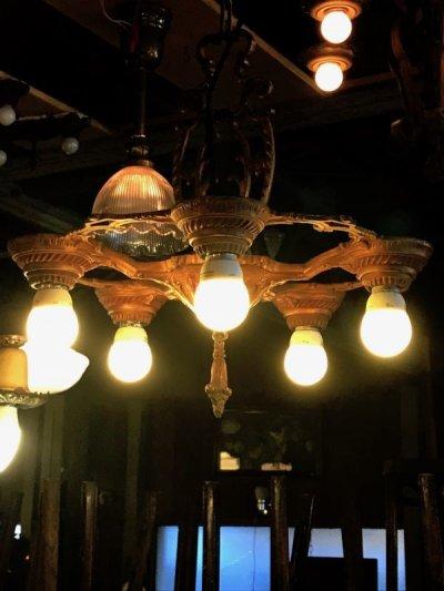 画像1: 1900'S 1910'S シーリングライト ベアバルブ シャンデリア 5灯 装飾 真鍮 アイアン アンティーク ビンテージ