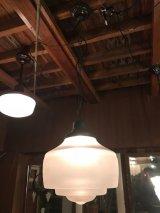 1920'S 30'S アールデコ 大型 シーリングライト フロストガラス コンビシェード 1灯 アンティーク ビンテージ
