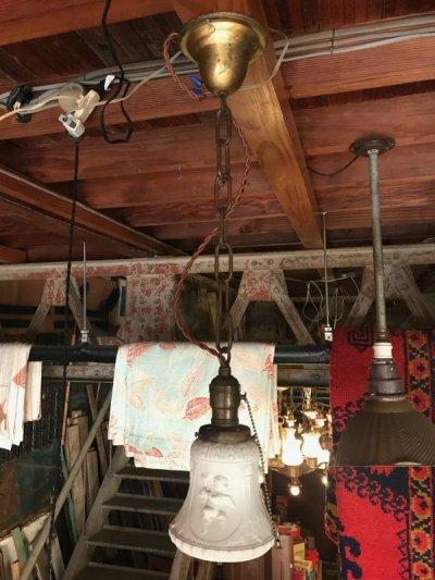 画像1: シーリングライト ペンダントライト ビクトリアン 装飾 浮彫 カメオ 1灯 真鍮 アンティーク ビンテージ