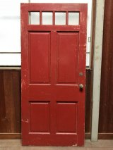 ガラス窓付き木製ドア ダークレッド×クリーム シャビー アンティーク ビンテージ
